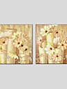 HANDMÅLAD Blommig/BotaniskModerna / Europeisk Stil Två paneler Kanvas Hang målad oljemålning For Hem-dekoration