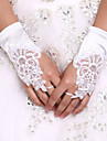 White Wrist Length Satin Bridal Gloves Fingerless Lace Glove Wedding Events Accessories+DIY Pearls and Rhinestones