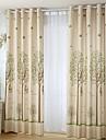 två paneler lands blom- botaniska beige sovrum linne bomullsblandning panelgardiner draperier