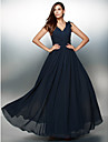 Formal Evening Dress A-line V-neck Floor-length Chiffon with Flower(s)