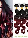 Ombre peruviens vierge ombre hair bordeaux ondes de corps ondulees extensions de cheveux ombre vin rouge 100% des extensions de cheveux