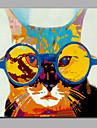enda modern abstrakt ren handen dra redo att hänga dekorativa med glasögon katt oljemålning
