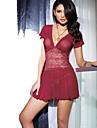 Feminin Cămăși de Noapte / Lenjerie din Dantelă Pijamale Dantelă / Spandex Solid Roșu