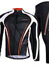 NUCKILY® Cykeltröja och tights Herr Lång ärm CykelAndningsfunktion / Snabb tork / Vindtät / Anatomisk design / Bärbar / Back Pocket /