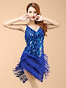 Latin Dance Dresses Women\'s Performance Organza Sequins / Tassel(s) 1 Piece Blue / Gold / Red / Silver