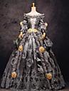 Une Piece/Robes Gothique Steampunk® Victorien Cosplay Vetrements Lolita Gris Mosaique Vintage Manches longues Long Robe Pour FemmeSatin