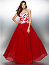 Formeller Abend Kleid A-Linie Herzausschnitt Boden-Laenge Chiffon mit Applikationen