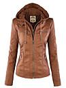 Damen Jacke  -  Leger Langarm Baumwolle / Polyester / PU Medium