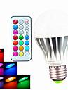 9W B22 / E26/E27 LED-globlampor A60(A19) 3pcs Högeffekts-LED 550LM lm RGB Dimbar / Fjärrstyrd / Dekorativ AC 100-240 V 1 st