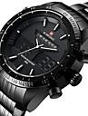 NAVIFORCE Bărbați Ceas Sport Ceas de Mână Japoneză Quartz LED Calendar Rezistent la Apă Zone Duale de Timp alarmă CronometruOțel