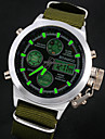 Men\'s Wrist watch Quartz Japanese Quartz LCD Calendar Chronograph Water Resistant / Water Proof Alarm Leather Band Brown Green Brand