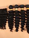 SLOVE hår peruanska vinkar djupt med spets stängning hår väva buntar 1st spets stängning med 4 buntar människohår
