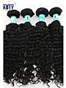 """4st / lot 8 """"-26"""" 5a peruanska jungfru hår vinkar djupt mänskliga hårförlängningar 100% obearbetat peruanska remy hår väver"""