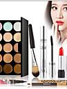 15 Correcteur/Contour+Mascara+Rouges a Levres+Pinceaux de Maquillage Humide Yeux Visage LevresCils courbes Dense Longue Duree Correcteur