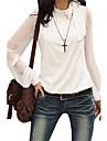 Femei Guler Standing Bluză Casul/Zilnic Simplu(ă),Mată Manșon Lung Toamnă-Alb / Negru Mediu Poliester