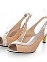 Zapatos de mujer - Tacon Kitten - Punta Abierta - Sandalias - Vestido / Casual / Fiesta y Noche - Cuero Patentado / Purpurina -Negro /