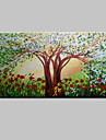 Hand-Painted Bloom Tree Abstract Landscape Modern Oil Painting On Canvas One Panel Ready To Hang 75x150cm