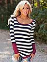 T-Shirt Da donna Monocolore Rotonda Manica lunga Poliestere