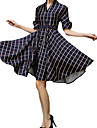 Women\'s Vintage V Neck Checked Dress