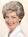 couleur grise sans bonnet courte perruque synthetique cheveux boucles Bang complet