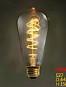 e27 ST64 tråd runt 40W 220v-240v edison retro dekorativa glödlampor