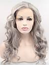 """18 """"-24"""" obearbetade brasilianska jungfru mänskliga fulla spets grå peruker limfria spets front grå hår peruker i lager"""