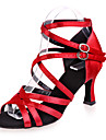 Non Customizable Women\'s Dance Shoes Satin Satin Latin Sandals Flared Heel Practice / Indoor / PerformanceBlack / Brown / Red / Silver /