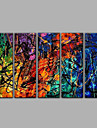 HANDMÅLAD AbstraktMedelhavet Fem paneler Kanvas Hang målad oljemålning For Hem-dekoration
