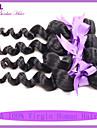 indisk lös våg jungfru hår människohår naturligt svart hår förlängning färgbara kan permanentat 3st / lot