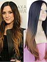 förlängningar bästa blandningsfärgen silkeslen raka våg lång syntetisk rak peruk