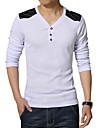 Tee-Shirt Pour des hommes Couleur plaine Decontracte / Travail / Sport / Grandes Tailles Manches longues Coton / Polyester Noir / Blanc