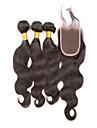 brasilianska jungfru hår av nedläggning brasiliansk vågigt spets stängning med hår buntar brazillian jungfruligt hår