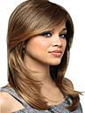 Mode feminine capless longue perruque synthetique miel melange blonds droite avec bang cote