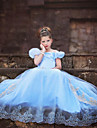 Costumes de Cosplay Princesse / Cinderella / Conte de Fee Cosplay de Film Bleu Couleur Pleine Robe Halloween / Noel / Nouvel an Enfant