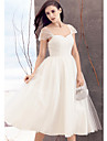 Lanting Bride® Linha A Vestido de Noiva Longuette Rainha Anne Tule com Cruzado