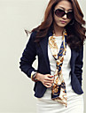 Women\'s Fall Blazer,Solid Notch Lapel Long Sleeve Pink / White / Beige / Black Polyester Medium