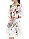 여성의 플러스 사이즈 드레스 데이트 프린트,라운드 넥 무릎 위 ¾ 소매 화이트 폴리에스테르 여름
