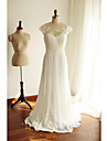 A-line Wedding Dress See-Through Court Train Scoop Chiffon Lace with Beading Bow Lace