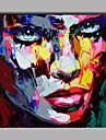 HANDMÅLAD Människor Fyrkantig,Moderna En panel Kanvas Hang målad oljemålning For Hem-dekoration