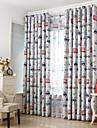 Två paneler Fönster Behandling Medelhavet Europeisk Rustik Modern Nyklassisistisk , Tecknat Sovrum Polyester MaterialMörkläggning