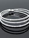 Pentru femei Brățări Bangle Bratari de tenis Elegant de Mireasă Multistratificat Cristal Zirconiu Ștras Aliaj Circle Shape Argintiu
