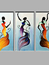 Peint a la main PersonnageModern Trois Panneaux Toile Peinture a l\'huile Hang-peint For Decoration d\'interieur