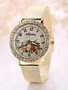 Women\'s Vintage Watch White Flower Crystal Imitation Diamond Case Steel Gold Band Wrist Watch Jewelry for Wedding Party