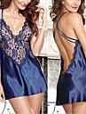 Feminin Ultra Sexy Pijamale Amestecuri de Bumbac Solid Alb / Albastru / Negru