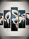 HANDMÅLAD Abstrakt / Landskap / Stilleben / Blommig/BotaniskModerna Fem paneler Kanvas Hang målad oljemålning For Hem-dekoration