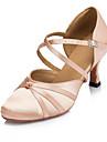 Chaussures de danse(Noir Rose) -Personnalisables-Talon Personnalise-Satin-Moderne