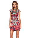 Women\'s Vintage Floral Sheath Printed Dress , Round Neck Knee-length Polyester