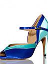 Customizable Women\'s Latin Salsa Dance Shoes Samba Satin Customized Heel Black / Blue / Brown / Yellow / Green / Pink