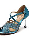 Chaussures de danse ( Bleu / Or ) - Non Personnalisables - Talon Aiguille - Flocage / Paillette Brillante - Latine / Salsa