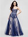 Linia -A In Formă de Inimă Lungime Podea Tulle Seară Formală Gală Elegantă Rochie cu Mărgele Aplică de TS Couture®
